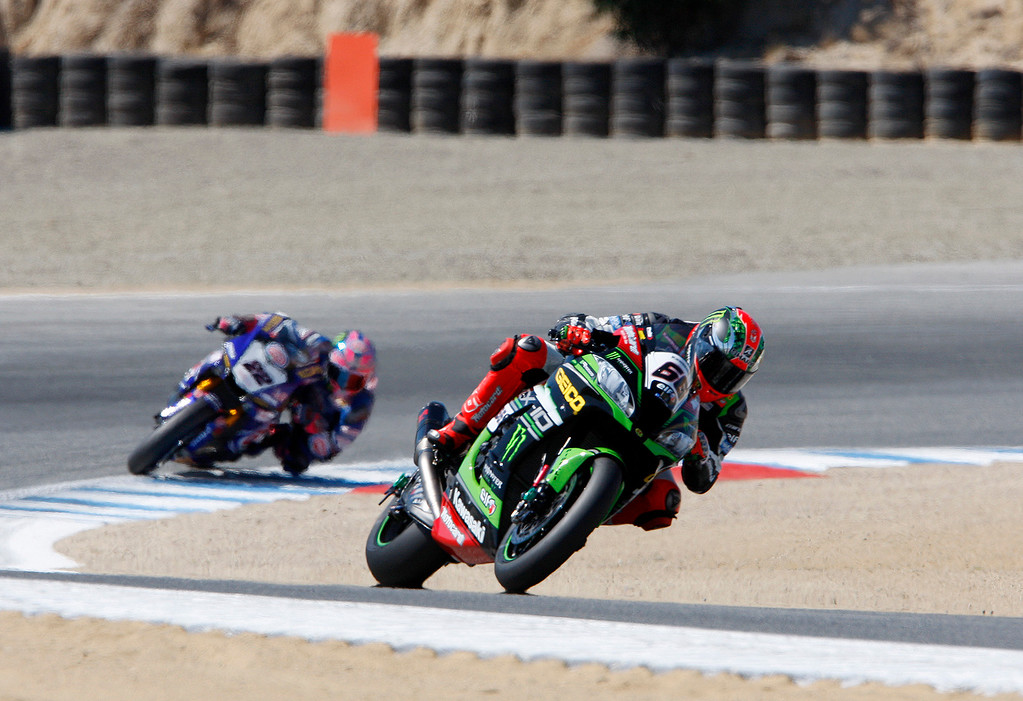 . Tom Sykes (66) leads Alex Lowes (22) out of turn-2 during the FIM Superbike World Championship at Mazda Raceway Laguna Seca on Sunday, July 9, 2017.  (Vern Fisher - Monterey Herald)