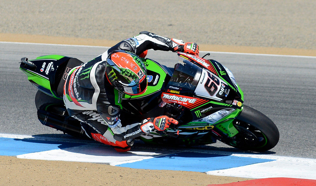 . Tom Sykes (66) from Great Britain leans his Kawasaki ZX-RR through turn-3 during the FIM Superbike World Championship at Mazda Raceway Laguna Seca on Sunday, July 9, 2017.  (Vern Fisher - Monterey Herald)