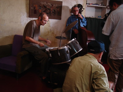 Rehearsal at Clives, does not own drum stool