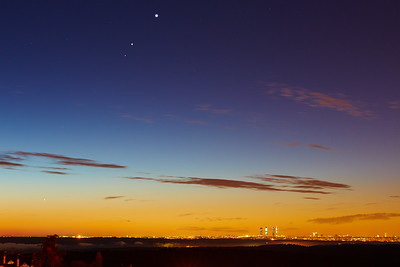 Mercury, Mars, Jupiter and Venus aligment over Madrid - II