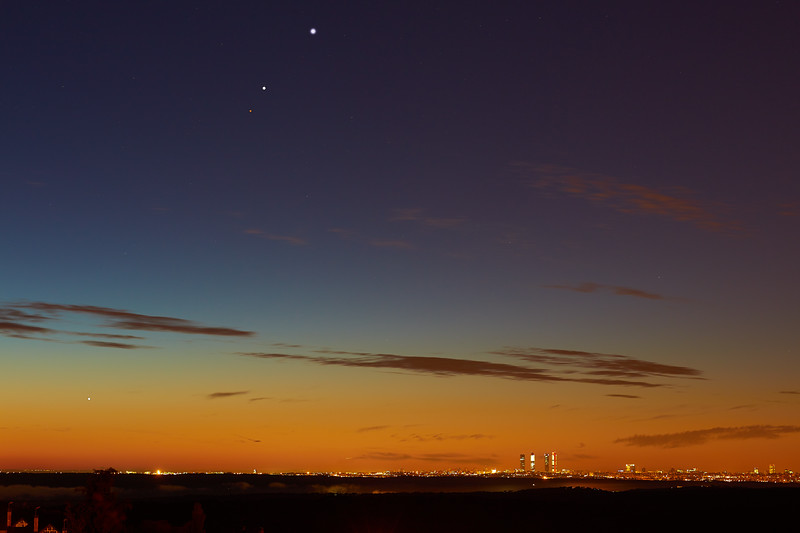 Mercury, Mars, Jupiter and Venus aligment over Madrid