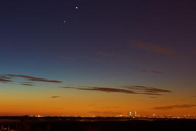 Mercury, Mars, Jupiter and Venus aligment over Madrid