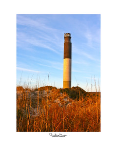 OAK ISLAND LIGHTHOUSE, completed in 1958, is located in North Carolina, near the town of Caswell Beach.    For more information, go to ...  http://www.oakislandlighthouse.org/history.htm