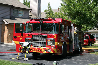 ORLAND FPD ENGINE CO. 2 WORKING AT A 2-11 ALARM FIRE ON 8-13-2011