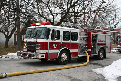 MARKHAM ENGINE CO. 1533 WORKING AT A FIRE IN MARKHAM 1-25-12