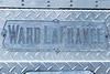 Name plate on the rear of the 1975 Wadsworth, OH Ward LaFrance engine