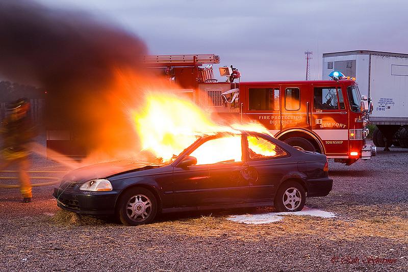 Car fire training.