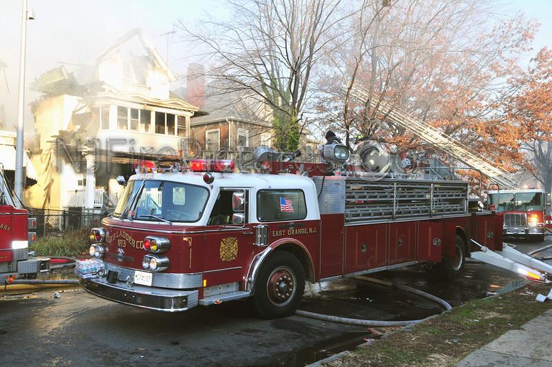 East Orange, NJ Ladder working at a multiple alarm fire on South Burnett St.
