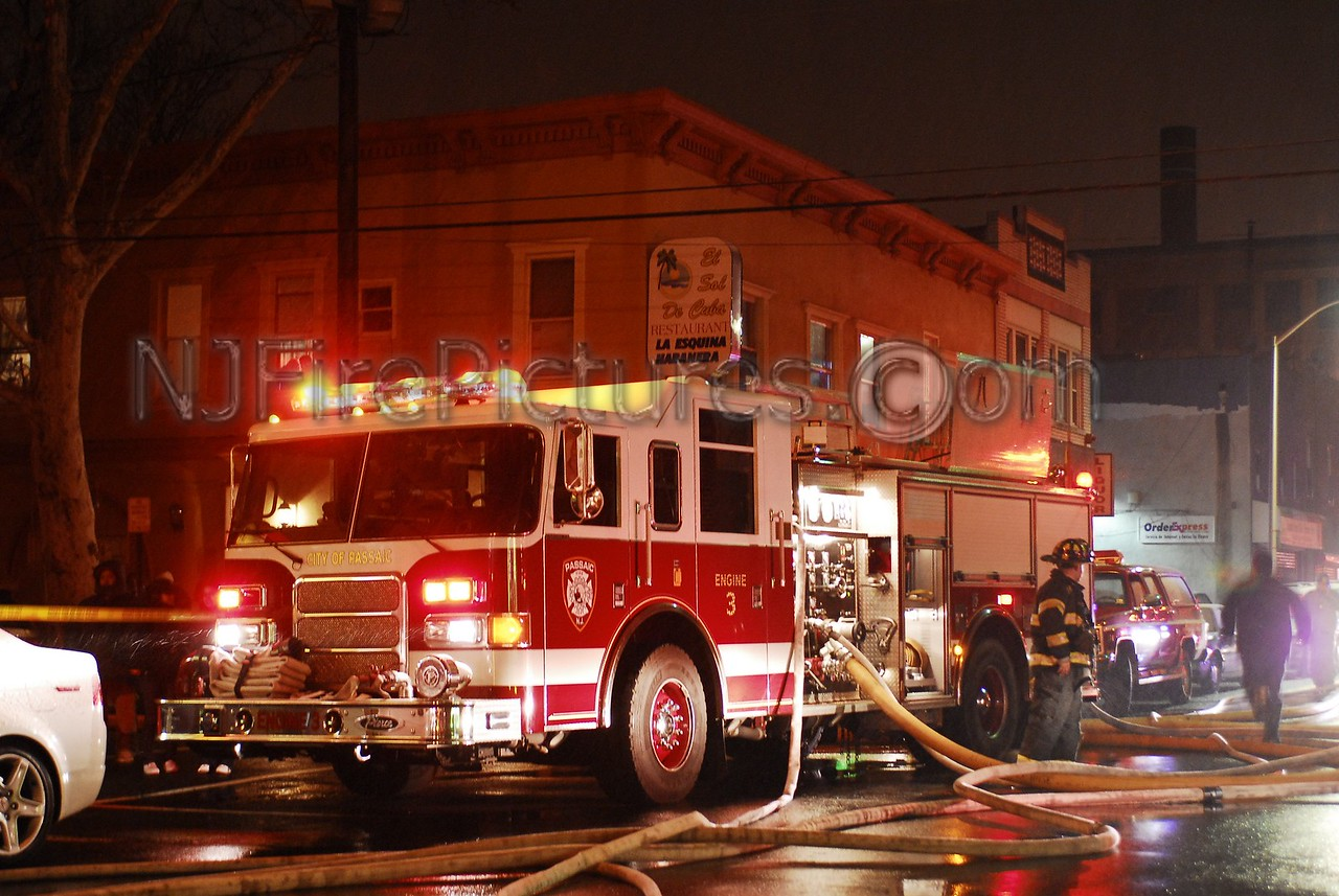 Passaic, NJ Engine 3 working at a multi-alarm fire on Passaic St.