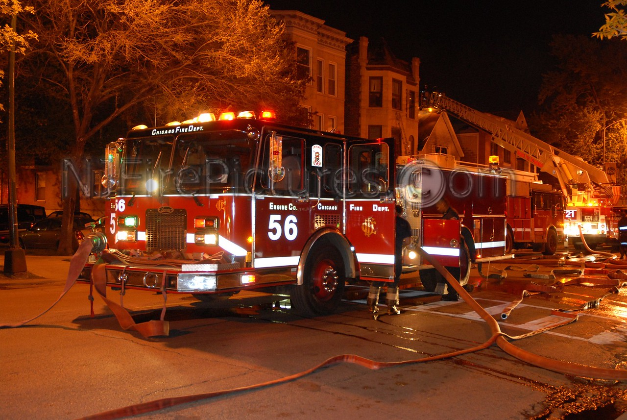 Chicago Il. Engine 56 working at a house fire.