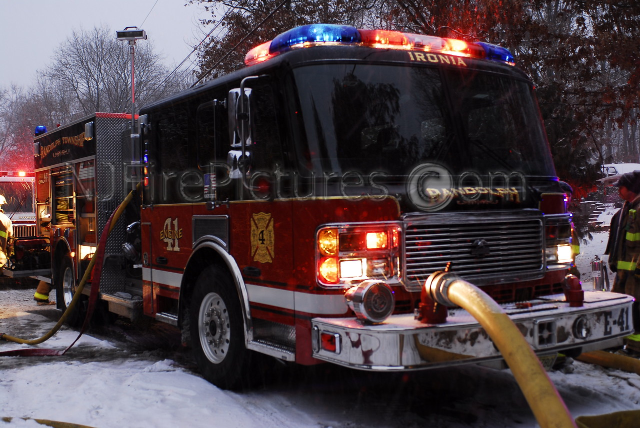Randolph NJ's American LaFrance pumper working at a house fire.