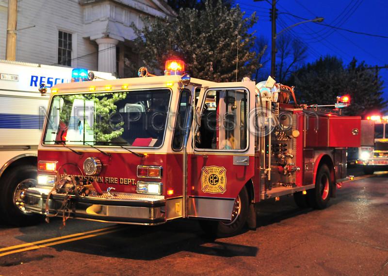 Hackettstown, NJ E-ONE pumper at an evening fire.