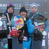 2013 FIS Snowboard World Championships - Men Podium - f.l.t.r.: 2nd Mark McMorris (CAN), 1st Roope Tonteri (FIN), 3rd Janne Korpi (FIN) © FIS/Oliver Kraus