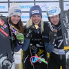 2013 FIS Snowboard World Championships - Parallel Giant Slalom - Women's Podium - f.l.t.r.: 2nd Julie Dujmovits (AUT), 1st Isabella Laboeck (GER), 3rd Amelie Kober (GER) © FIS/Oliver Kraus