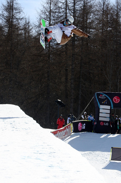 Pavel Kharitonov (RUS) competes in a halfpipe World Cup event in Bardonecchia, Italy © FIS/Oliver Kraus