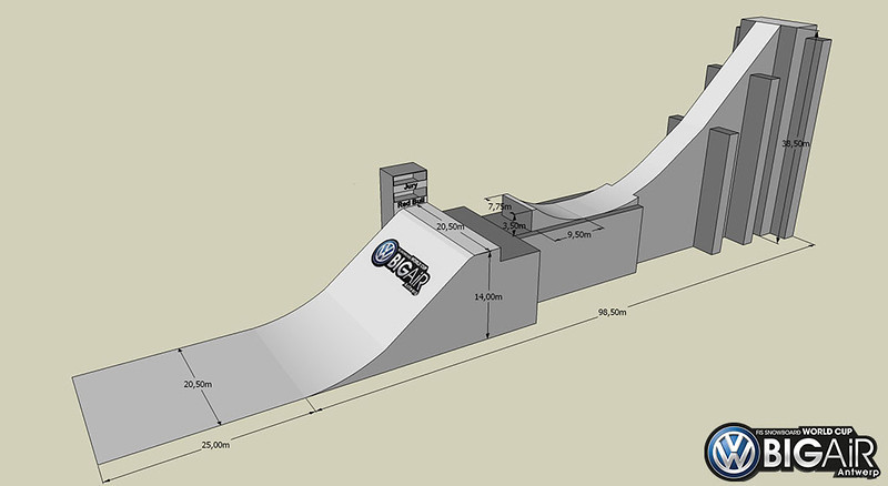 Drawing of the big air ramp used in Antwerp, Belgium, for the first ever FIS Snowboard World Cup in Belgium, the 2013 season's first big air contest.<br /> <br />  © Organiser