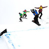 Quarter Finals #2 Ladies with Nelly Moenne (FRA) in red, Charlotte Bankes (FRA)  in green, Tess Critchlow (CAN) in yellow and  Bell Berghuis (NED) in blue FIS SBX World Cup at La Molina - Finals - Mar 21, 2015. © Mario Sobrino La Molina, Molina, SBX3