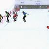 Quarter Finals #1 Ladies with Michela Moioli (ITA) in red, Dominique Maltais CAN) in green, Faye Gulini (USA) in yellow and  Chloe Trespeuch (FRA) in blue FIS SBX World Cup at La Molina - Finals - Mar 21, 2015. © Mario Sobrino La Molina, Molina, SBX
