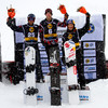 Podium Boys Christopher Robanske (CAN), Alex Deibold (USA) and Alex Pullin (AUS) FIS SBX World Cup at La Molina - Finals - Mar 21, 2015. © Mario Sobrino La Molina, Molina, SBX, World Cup