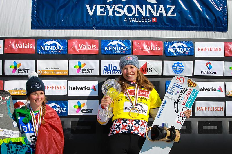 Overall<br /> FIS SNOWBOARD WORLD CUP 2017 SBX <br /> WOMEN'S SNOWBOARD CROSS WORLD CUP STANDING<br /> 1 SAMKOVA Eva CZE<br /> 2 MOIOLI Michela ITA<br /> 3 BROCKHOFF Belle AUS