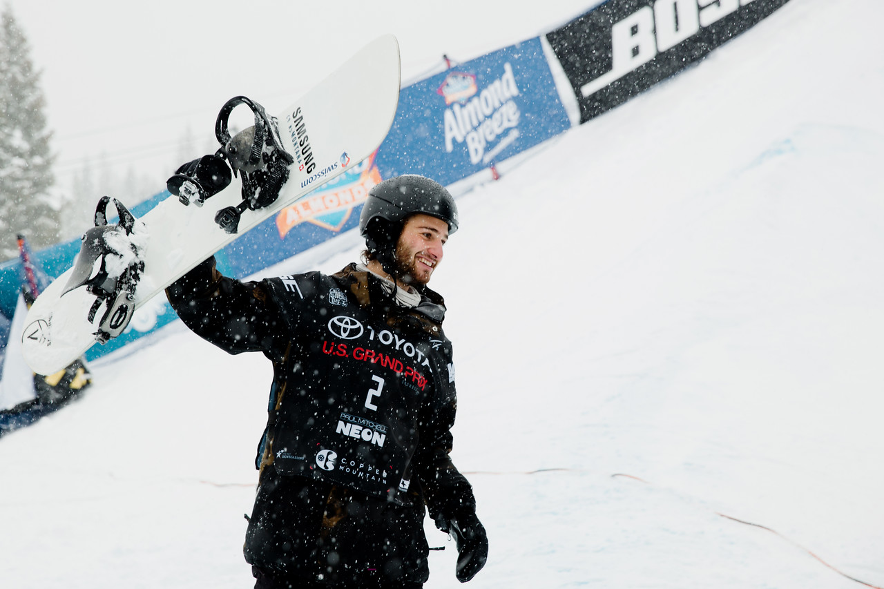 Pat Burgener (SUI) celebrates win at Copper Mtn halfpipe WC finals