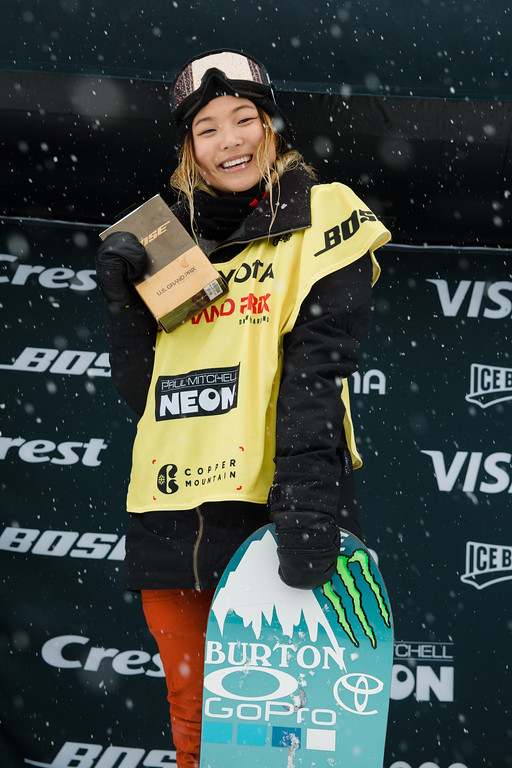 Winner Chloe Kim (USA) celebrates at Copper Mtn halfpipe WC finals