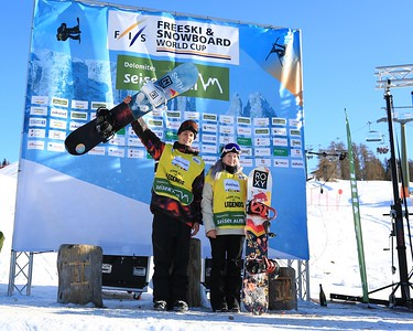 Slopestyle World Cup leader's Vlad Khadarin (RUS) and Katie Ormerod (GBR)