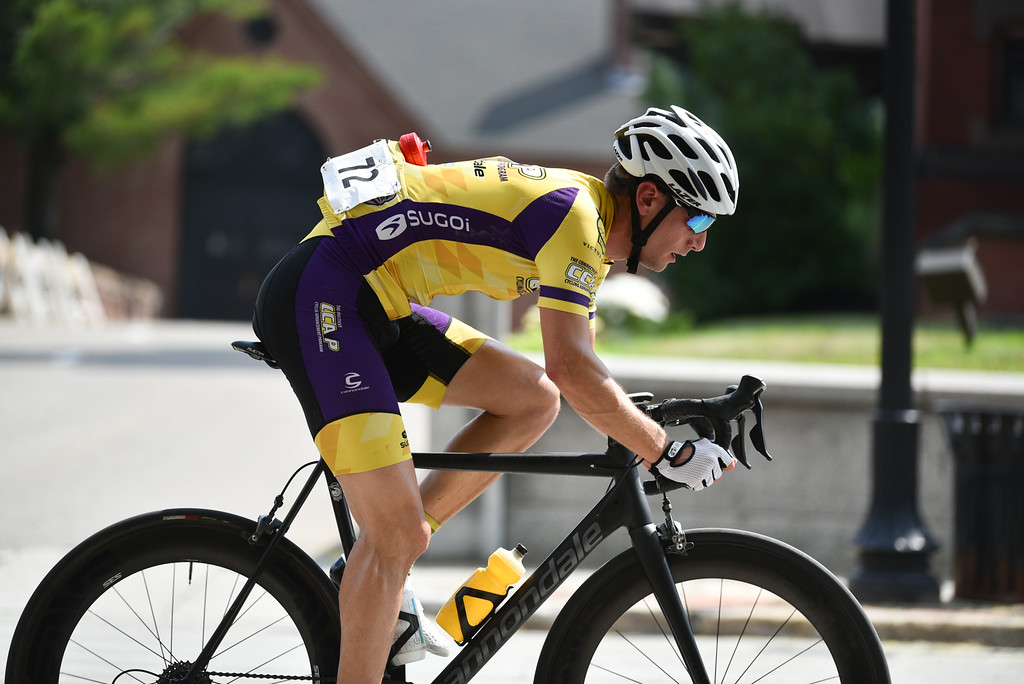 . David Hoyle of Middleton CT takes on the Men\'s Pro criterium of the 2018 Longsjo Classic in Fitchburg on Sunday.  SENTINEL & ENTERPRISE JEFF PORTER1