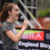Mary Mahoney, 15, of Fitchburg sings the National Anthem at the start of the 2018 Longsjo Classic in Fitchburg on Sunday.  SENTINEL & ENTERPRiSE JEFF PORTER