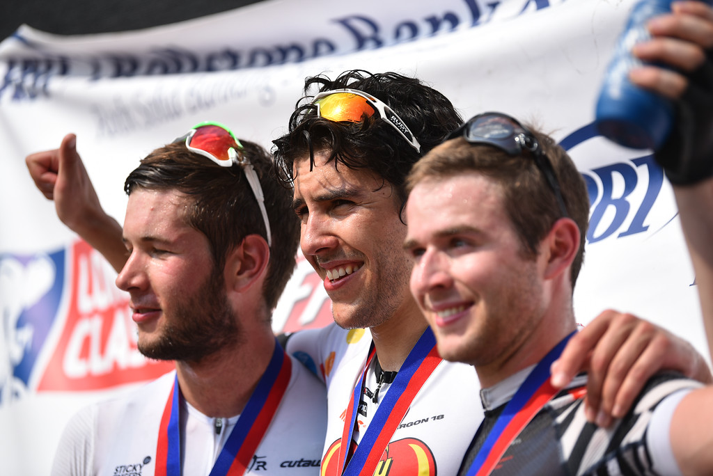 . Richard Furchtgott (left),  Curtin White (center) and Chris Goguen are the top three finishers in the 2018 Longsjo Classic Men\'s Pro criterium in Fitchburg on Sunday.  SENTINEL & ENTERPRiSE JEFF PORTER