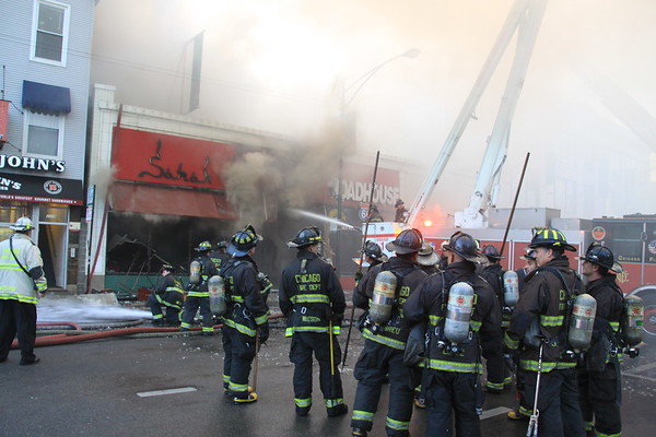 Chicago Fire Department 3-11 Alarm Fire In Wrigleyville Bar  With A MayDay Alert 3330 North Clark