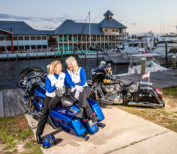 Pam Tiller and Barbara Jones are two of the Panama City area residents who are members of the Motor Maids. The two were photographed at St. Andrews Marina Monday, May 13, 2019.