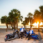 """Barbara Jones and Pam Tiller are members of the Motor Maids, a national organization that encourages women to be """"classy"""" motorcycle riders. The women were photographed in downtown Panama City Wednesday, May 22, 2019."""