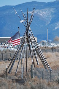 flag and teepee