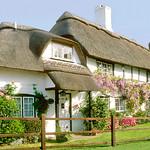 "Print title:  "" DEVON THATCHED COTTAGE ""  / © Gj"