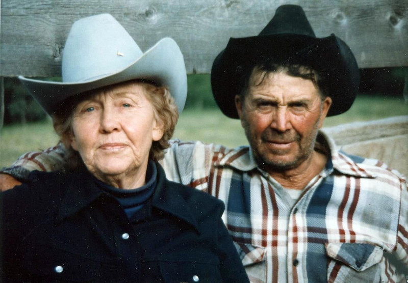 Virginia & Floyd, sent to Marvel in Alaska for Easther.  Mom was 72 & Dad 74. Taken at the Pass by the horse corral.