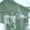 Adults left to right: Muriel Bramwell, Minnie Castle-Bramwell, Carl Bramwell, Lois Bramwell-Kinser, Virginia Amyx-Bramwell (back), Gram/Hattie Fisk-Bramwell, Ernest Bramwell, Opel Bramwell-Turner, Guinn Kinser, Sid Dutton, Carl Dutton, Pat Dutton, Beryl Bramwell-Dutton.  Children in front - left to right:  Leonard Kinser, Joan Turner, Little Lynn Bramwell, two Kinsley kids raised by Beryl.  (Photo owned by Opel Bramwell-Turner, taken by Lee Turner.  Family members identified by Opel Bramwell-Turner & Beverly Turner-Leas.)