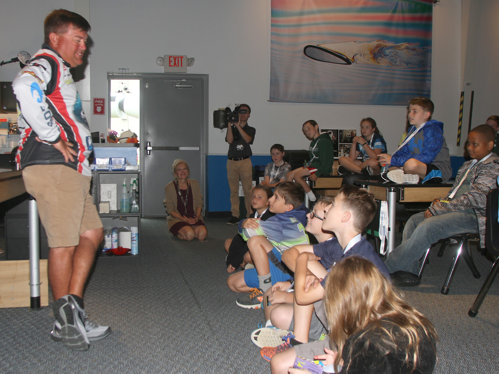 . Jay Kendrick talks to the students about the science behind pro fishing