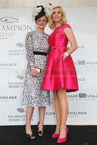 Best Dressed Lady Linda Morrison with Yvonne Keating at the Curragh for Irish Champions Weekend (September 2014)