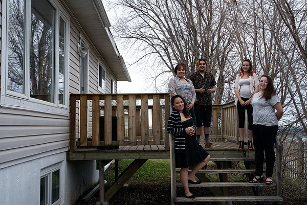 Tara Badine and her children at their home in Fort Nelson.