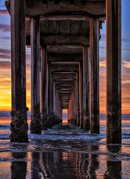 "STEPHEN CRANE - ""SUNSET UNDER PIER, LA JOLLA, CA"" - MAN-MADE"