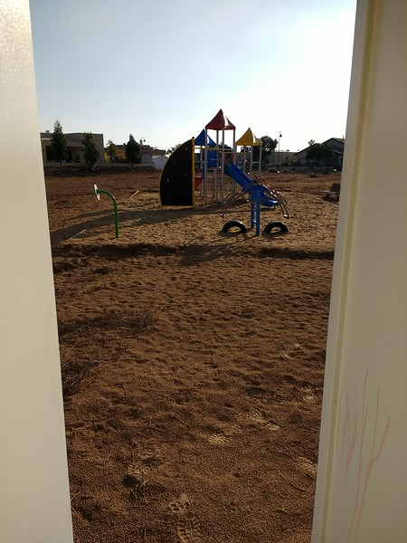 view from entrance of shelter looking at playground. 15 seconds warning