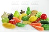 Plastic game, fake varied vegetables and fruits