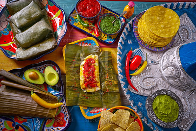 Tamale Mexican food recipe with banana leaves