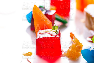 jelly colorful fruits gelatine on white