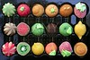 Colorful marzipan sweets with fruits shapes