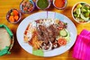 Beef grilled mexican style bisteck chili sauce