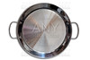 Paella pan in stainless steel on white