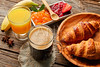 Continental breakfast croissant coffe orange juice