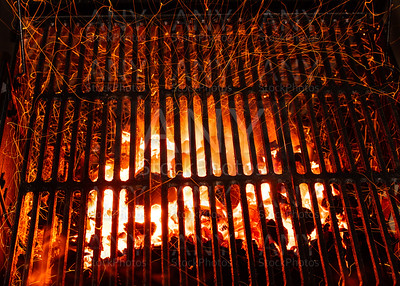 grill barbecue with red ashes sparkles